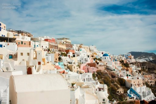 Santorini's white washed villas. Photo by Mr. R. Decena