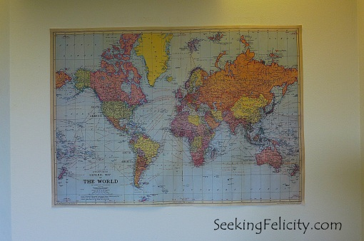 One almost always has a map in their room if they're crazy about travels - almost! ;)