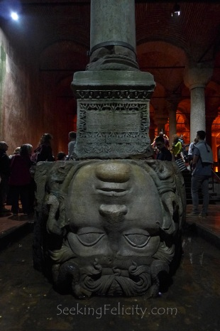 An upside down head of Medusa was used as a base for one of the column. It is said to be placed that way to negate the power of the Gorgon - turn everything that stares into its eyes to stone.