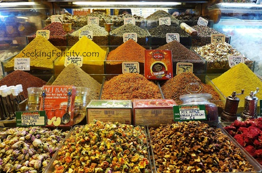 Spices everywhere! Lots of dried fruits being sold! Turkish delights to be sampled at every turn!